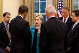 ABBA Photo - Washington DC - May 28 2009 -- United States President Barack Obama speaks with Secretary of State Hillary Clinton following the Presidents talk with Palestinian Authority President Mahmoud Abbas (Abu Mazen) in the Oval OfficeMANDATORY PHOTO CREDIT Pete SouzaWhite House-CNP-PHOTOlinknet