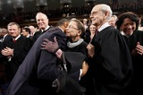 Stephen Breyer Photo - United States President Barack Obama hugs Justice Ruth Bader Ginsburg on Capitol Hill in Washington Tuesday Jan 25 2011 prior to delivering his State of the Union address From left are Chief Justice John Roberts Justice Anthony Kennedy the president Justice Ginsburg and Justice Stephen Breyer  Photo by Pablo Martinez Monsivais PoolCNP-PHOTOlinknet