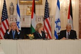 Benjamin Netanyahu Photo - Washington DC 9022010RESTRICTED NEW YORKNEW JERSEY OUTNO NEW YORK OR NEW JERSEY NEWSPAPERS WITHIN A 75  MILE RADIUSSecretary Clinton hosts Abbas and Netanyahu peace talksSecretary of State Hillary Clinton hosts the re-launch of direct negotiations between (left) Israeli Prime Minister Benjamin Netanyahu and (right) Palestinian Authority President Mahmoud Abbas at the US State Department Secretary Clinton and the two leaders marked the start of the negotiations by making opening remarks to the mediaDigital photo by Elisa Miller-PHOTOlinknet