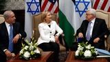 Mahmoud Abbas Photo - United States Secretary of State Hillary Rodham Clinton (center) hosts direct talks between Palestinian President Mahmoud Abbas (right) and Israeli Prime Minister Benjamin Netanyahu (left) in Sharm El Sheikh Egypt on Tuesday September 14 2010 Photo by Department of StateCNP-PHOTOlinknet