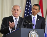 Benjamin Netanyahu Photo - Peace Talks8252JPGRESTRICTED NEW YORKNEW JERSEY OUTNO NEW YORK OR NEW JERSEY NEWSPAPERS WITHIN A 75 MILE RADIUS OF NYCPrime Minister Benjamin Netanyahu of Israel makes remarks as United States President Barack Obama looks on in the East Room of the White House following a series bi-lateral meetings in Washington DC on Wednesday September 1 2010  The statements are in advance of the opening of the first direct talks in two years between Israel and the Palestinian Authority scheduled to begin at the State Department in Washington DC tomorrow  Photo by Ron SachsPoolCNP-PHOTOlinknet