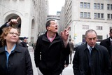 Antony Gormley Photo - New York NY 3232010Mayor Bloomberg and artist Antony Gormley walk to the inauguration of Gormleys new public art installation Event Horizon a collection of thirty-one casts of the artist himself placed in and around Madison Square Park Digital photo by Andy Lavin-PHOTOlinknet