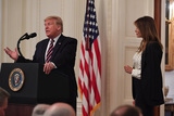 The Stage Photo - February 6 2020 Washington District of Columbia USA 2620- The White House- Washington DCPresident Donald J Trump delivers remarks in The East Room about about his acquital verdict by the SenateThe President invites the First Lady onto the stage (Credit Image  Christy BoweGlobe Photos via ZUMA Wire)