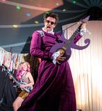 Marcus Brigstocke Photo - Southwold Suffolk Marcus Brigstocke performs his homage to Prince with his children and partner comedian RAchel Parris at the 2018 Latitude Festival at Henham Park near Southwold Suffolk 13th July 2018Ref LMK73-J2315-160718Keith MayhewLandmark MediaWWWLMKMEDIACOM