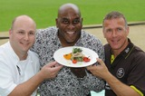 Alec Stewart Photo - London UK  Ainsley Harriott (chef) Alec Stewart (former England cricket captain and now BBC cricket commentator) and Chris Garrett (Oval cricket ground head chef) take part in a cook-off to promote food available during the upcoming and final Ashes test match of this series held at the Oval Surrey County Cricket Club in Kennington12 August 09Matt LewisLandmark Media