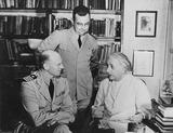 Albert Einstein Photo - Captain Geoffrey E Sage and Lt Comdr Frederick L Douthit Visit Dr Albert Einstein at His Home in Princeton NJ Globe Photos Inc
