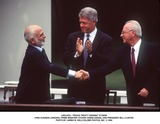 Yitzhak Rabin Photo -  Peace Treaty Signing 072594 King Hussein (Jordan) Prime Minister Yitzhak Rabin (Israel and President Bill Clinton Photo by James M KellyGlobe Photos Inc