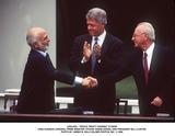 Yitzhak Rabin Photo -  Peace Treaty Signing 072594 King Hussein (Jordan) Prime Minister Yitzhak Rabin (Israel and President Bill Clinton Photo by James M KellyGlobe Photos Inc