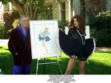Carrie Stevens Photo - Hugh Hefner Press Confrence at the Playboy Mansion in LA For Auction of Watercolors by Alberto Vargas Hugh Hefner  Playmate Carrie Stevens Photo by Fitzroy BarrettGlobe Photos Inc 12-7-2000