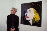 Andy Warhol Photo - Andy Warhol with Ingrid Bergmaan Oils 1984 13284 Photo by Phil Roach-ipol-Globe Photos Inc